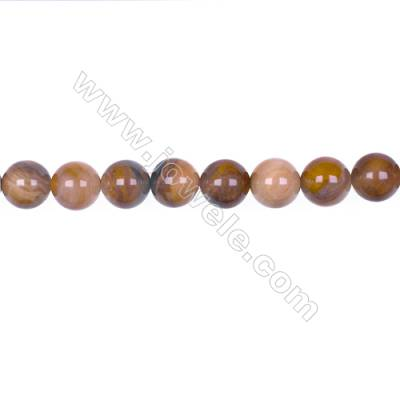 10mm Wood Opalite round strand beads for jewelry making, Hole 1mm, 40 beads/strand, 15~16""