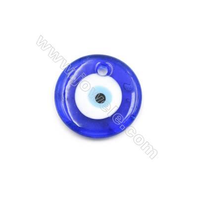 Handmade Evil Eye Lampwork Pendants, Dark Blue, Rondelle, Single-side, Diameter 35mm, Thickness 6mm, Hole:4.5mm, 30pcs/pack
