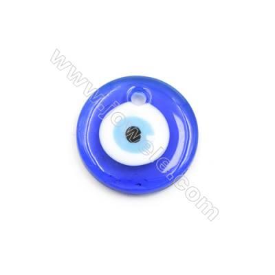 Handmade Evil Eye Lampwork Pendants, Dark Blue, Rondelle Single-side, Diameter 30mm, Thickness 5mm, Hole: 4mm, 40pcs/pack