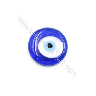 Handmade Evil Eye Lampwork Beads  Dark Blue  Rondelle Single-side  Diameter 25mm  40pcs/pack
