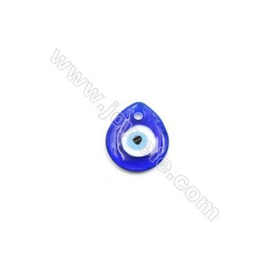Handmade Evil Eye Lampwork Beads, Dark Blue, Single-side Teardrop, Size 30x34mm, Thickness 5.5mm, Hole 4.5mm, 40pcs/pack