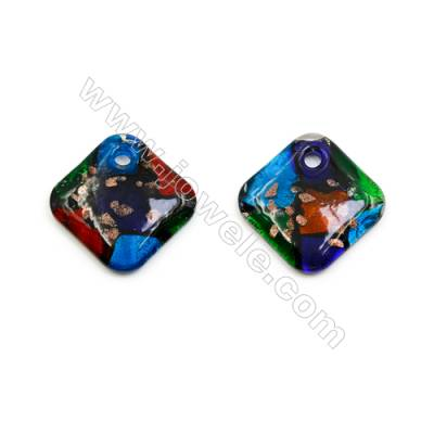 Handmade Single-side Lampwork Pendants, Rhombus, Size 50x50mm, Thickness 8.5mm, Hole: 6mm, 20pcs/pack