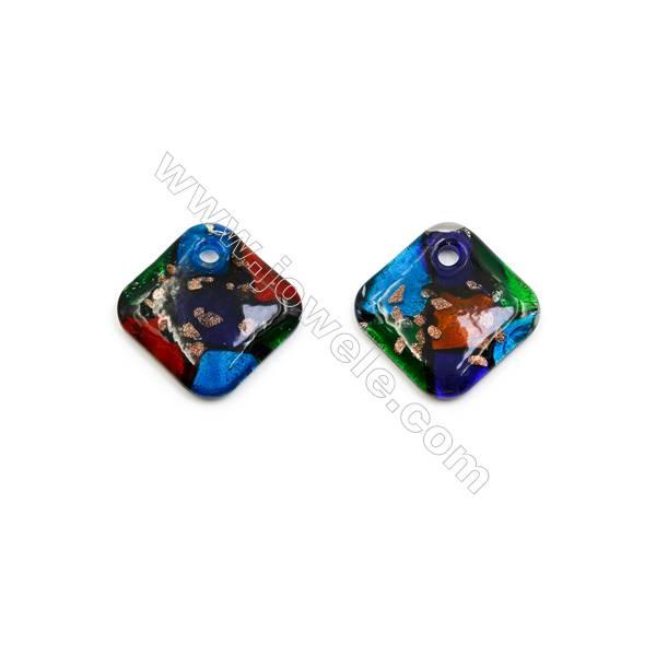 Handmade Single-side Lampwork Pendants, Rhombus, Size 50x50mm, Thickness 8.5mm, Hole: 6mm, 20pcs/pack