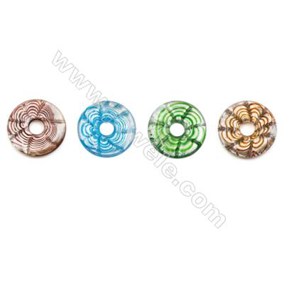 Handmade Single-side Lampwork Pendants, Rondelle, Diameter 40mm, Thickness 6.5mm, Hole: 10mm, 30pcs/pack