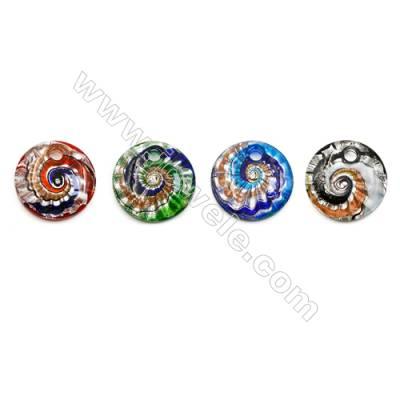 Handmade Single-side Lampwork Pendants, Rondelle, Diameter 45mm, Thickness 9mm, Hole: 7mm, 30pcs/pack