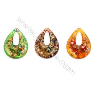 Handmade Single-side Lampwork Pendants, Teardrop, Size 40x52mm, Thickness 11mm, Hole: 10x24mm, 30pcs/pack