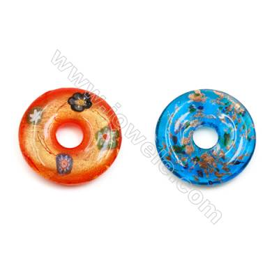 Handmade Single-side Lampwork Pendants, Diameter 45mm, Thickness 10mm, Hole: 11.5mm, 30pcs/pack