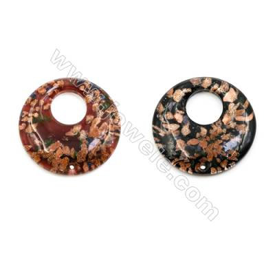 Handmade Lampwork Pendants, Single-side, Diameter 50mm, Thickness 10mm, Hole: 8mm, 30pcs/pack