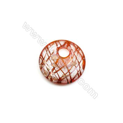 Handmade Lampwork Pendants, Red Single-side, Diameter 50mm, Thickness 10mm, Hole: 11.5mm, 30pcs/pack