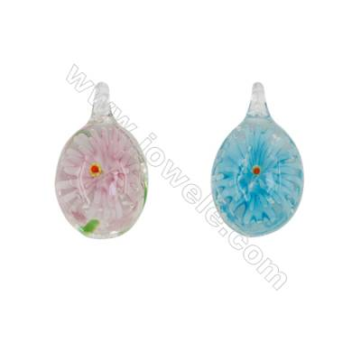 Lampwork Pendant, Teardrop, Size: 21x37mm, Hole 4mm, 30pcs/pack