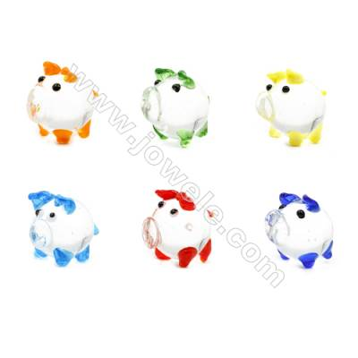 Lampwork Little Charms  Pig  Size 20x20mm   6pcs/pack