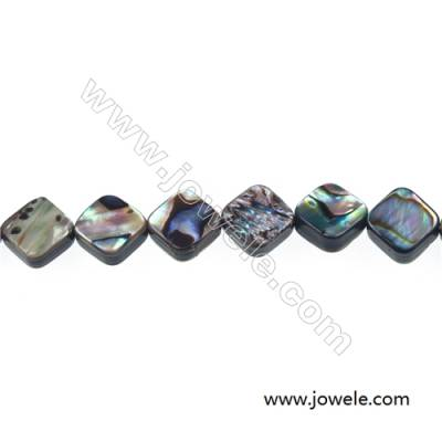 Abalone/Paua shell rhombic beads strand, Size 10x10 mm, Hole 0.8 mm, about 42 beads/strand, 15 ~ 16""