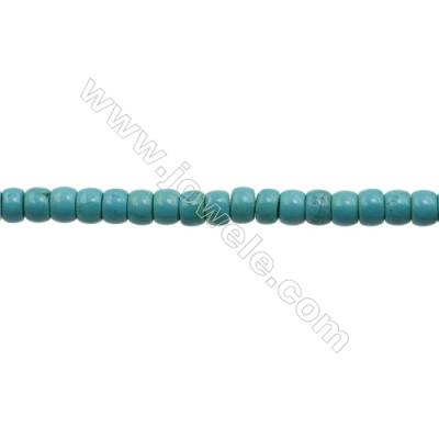 XinJiang Turquoise Column Beads Strand  Dyed   Size 6x8mm  Hole 0.8mm  about 66 beads/strand 15~16""