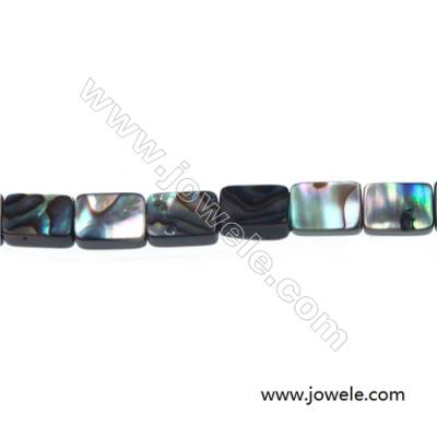 Abalone/Paua shell square beads strand, Size 6x8 mm, Hole 0.8 mm, about 50 beads/strand, 15 ~ 16''