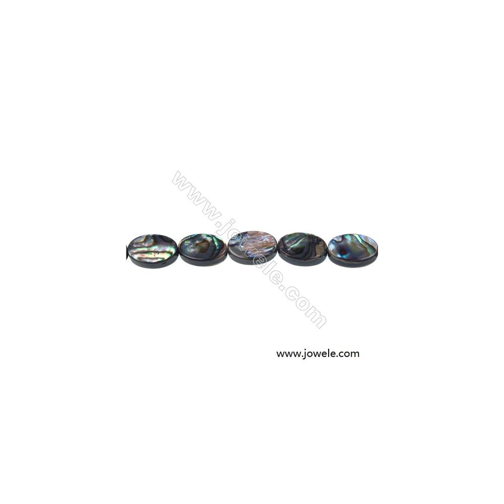 Abalone/Paua shell oval shaped strand beads, Size 8x12mm, Hole 0.8 mm, about 33 beads/strand, 15 ~ 16''