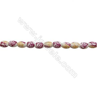 Handmade Mix Color Porcelain/Ceramic Beads Strands  Oval  Size 8x10mm  Hole 2mm  about 40 beads/strand 15~16""