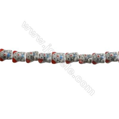 Handmade Mix Color Porcelain/Ceramic Beads Strands, Chinese Zodiac Mouse, Size 16x17mm, Hole 2mm, about 24 beads/strand