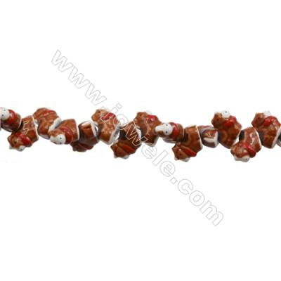 Handmade Mix Color Porcelain/Ceramic Beads Strands, Chinese Zodiac Cow, Size 19x19mm, Hole 2mm, about 24 beads/strand