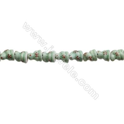 Handmade Mix Color Porcelain/Ceramic Beads Strands, Chinese Zodiac Snake, Size 15x18mm, Hole 2mm, about 24 beads/strand