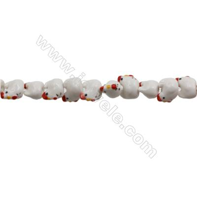 Handmade Mix Color Porcelain/Ceramic Beads Strands, Chinese Zodiac Chicken, Size 18x19mm, Hole 2mm, about 24 beads/strand