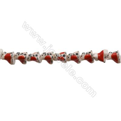 Handmade Mix Color Porcelain/Ceramic Beads Strands, Chinese Zodiac Dog, Size 16x16mm, Hole 2mm, about 24 beads/strand