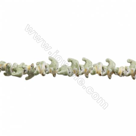 Handmade Mix Color Porcelain/Ceramic Beads Strands, Chinese Zodiac Dragon, Size 16x24mm, Hole 2mm, about 24 beads/strand