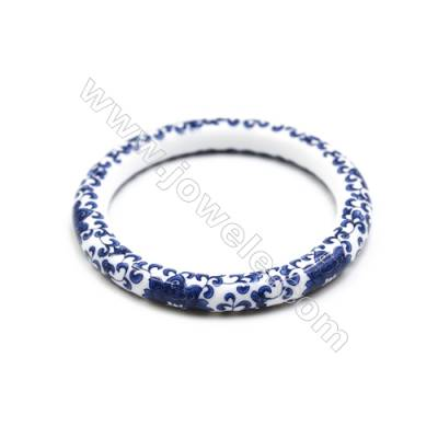 Mixed Chinoiserie Porcelain Bangles, Blue and White China Style Bangles, Inner Diameter about 59mm, Thickness 9mm