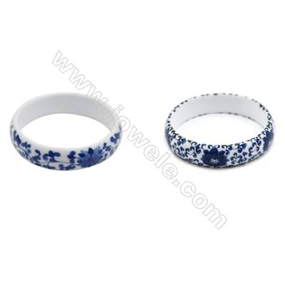 Mixed Chinoiserie Porcelain Bangles, Blue and White China Style Bangles, Inner Diameter about 64mm, Width 16mm, Thickness 5mm