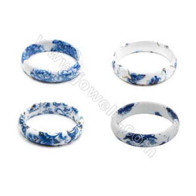 Mixed Chinoiserie Porcelain Bangles, Blue and White Style Bangles, Inner Diameter about 58mm, Width 15mm, Thickness 6mm