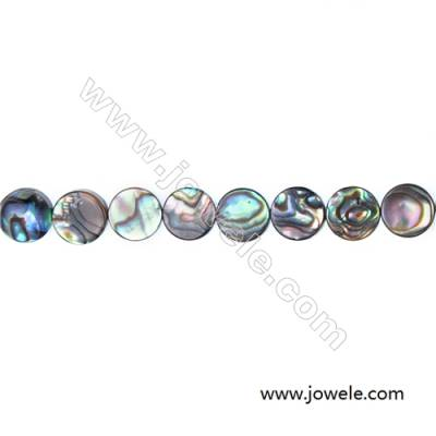 Abalone/Paua shell flat round beads strand, Size 12 mm, Hole 1 mm, about 33 beads/strand, 15 ~ 16''