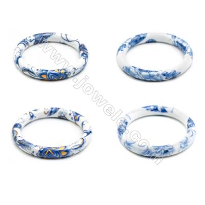 Mixed Chinoiserie Porcelain Bangles, Blue and White Style Bangles, Inner Diameter about 60mm, Width 10.5mm, Thickness 9mm