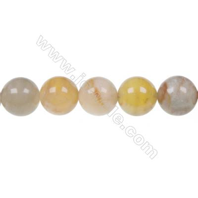 Round flower jade strand beads, Diameter 12mm, Hole 1.2mm, 34 beads/strand, 15~16""