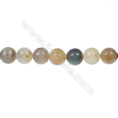 Round flower jade strand beads, Diameter 10mm, Hole 1mm, 41 beads/strand, 15~16""