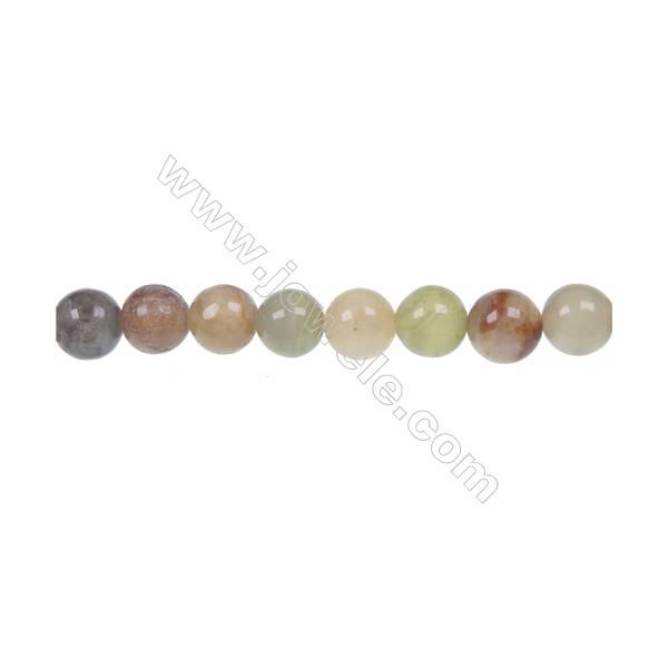 """Round flower jade strand beads, Diameter 8mm, Hole 1mm, 52 beads/strand, 15~16"""""""