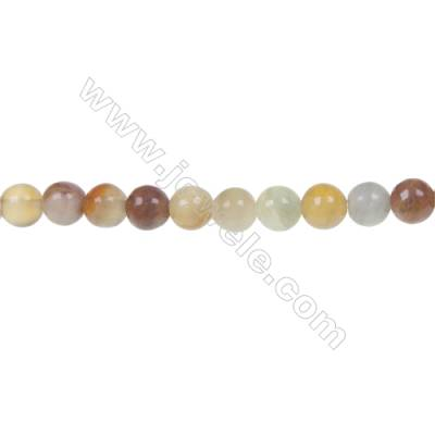 Round flower jade strand beads, Diameter 6mm, Hole 1mm, 67 beads/strand, 15~16""