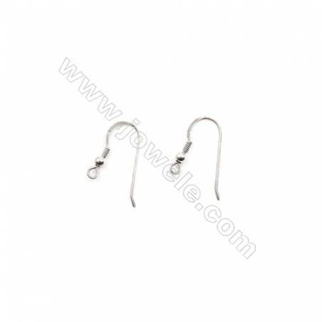 925 Sterling Silver Earring hook  Size 14x22mm  Pin 0.7mm  Hole 1.5mm  40pcs/pack