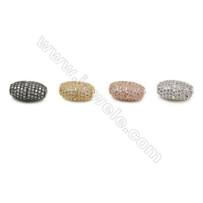 9x14mm  Brass Oval Bead, Plated, CZ Micropave, Hole 1.5mm, 10pcs/pack