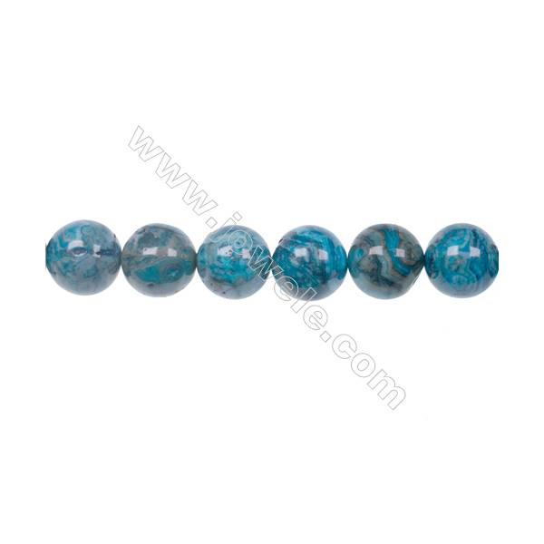 Wholesale 12mm Dyed Blue Crazy Lace Agate Fashion Strand Bead For Jewelry Making hole 1.2mm  34 beads/strand  15~16''
