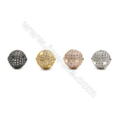 13mm  Brass Round Bead, Plated, CZ Micropave, Hole 2mm, 10pcs/pack
