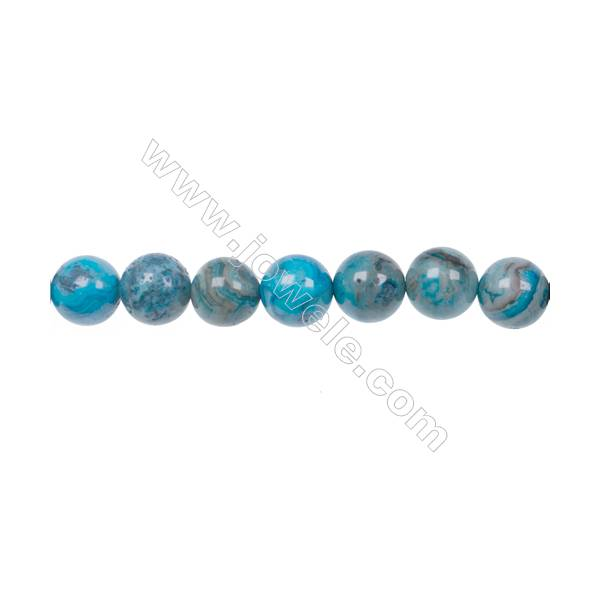 Wholesale 10mm Smooth Dyed Blue Crazy Lace Agate Strand Bead For Necklace Or Bracelet Making hole 1mm  40 beads/strand  15~16''