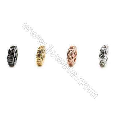 6x6mm  Brass Spacer Bead, Plated, CZ Micropave, Hole 0.8mm, 50pcs/pack