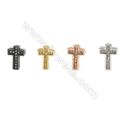 8x10mm  Brass Cross Bead  Plated  CZ Micropave  Hole 0.8mm  45pcs/pack