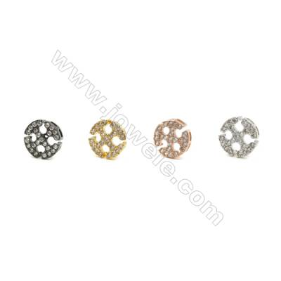 11mm  Brass Rondelle Bead, Plated, CZ Micropave, Hole 1mm, 30pcs/pack