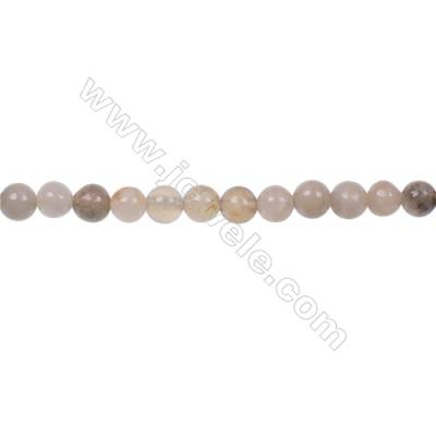 Natural round fossil coral agate strand beads 4mm  hole 0.8mm  97 beads/strand  15~16""