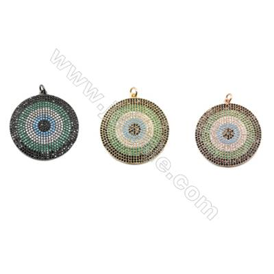 31mm  Brass Rondelle Pendant  (Gold  Rhodium) Plated  CZ Micropave
