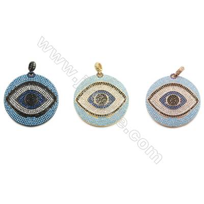 36mm  Brass Rondelle Pendant with evil eye  (Gold  Rhodium  Rose Gold) Plated  CZ Micropave