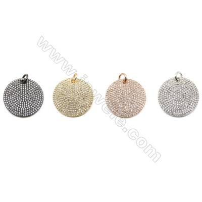 22mm  Brass Rondelle Pendant  (Gold  Rhodium  Black  Rose Gold) Plated  CZ Micropave