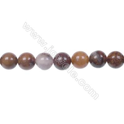 Agua Nueva Agate 8mm round strand beads earthy golds  browns and reds hole 1mm  50 beads/strand  15~16''