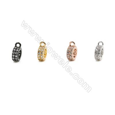 8mm  Brass Ring Pendant  (Gold  Rhodium) Plated  CZ Micropave  Hole 1.5mm  30pcs/pack