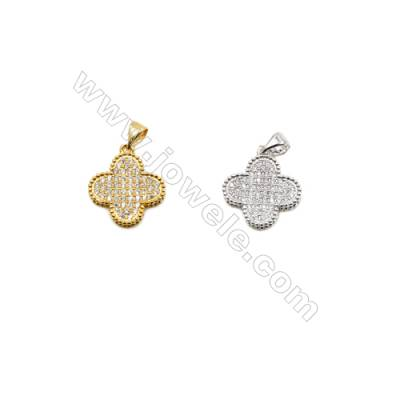 15x18mm  Brass Clover Pendant  (Gold  Rhodium) Plated  CZ Micropave  20pcs/pack